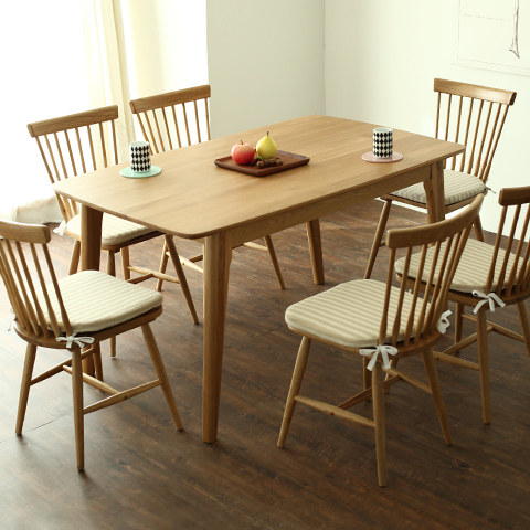 Modern and simple combination of solid wood IKEA dining table small  apartment Nordic wood white oak Japanese style dining table-in Dining  Tables from ...