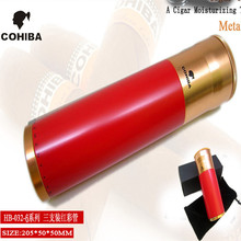 COHIBA Red Cylindrical Cigar Hydrating Tube Humidor COHIBA Gadgets Aluminum Alloy Portable Travel Cigar Tube