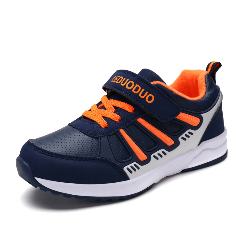 2017 New Childrens Running Shoes for Boys Leather Kids Sneakers Girls Lace Up School Shoes Blue Kids Walking Trainers Cheap hobibear classic sport kids shoes girls school sneakers fashion active shoes for boys trainers all season 26 37