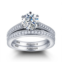 Lover Gift Personalized 925 Sterling Silver CZ Promise Names Ring For Women Jewelry Engagement Wedding Jewelry