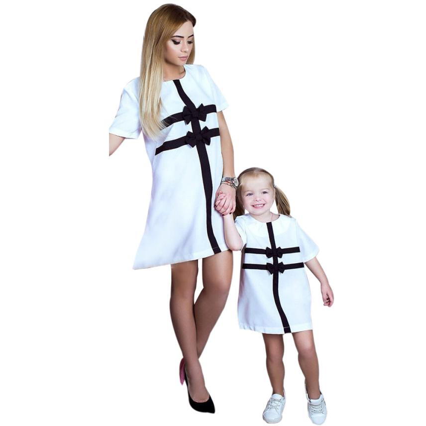 CHAMSGEND Mommy & Me Toddler Girl Bow tie skirt parents wear daughter Short Sleeve Tops T Shirt Dress Clothes Outfit P30
