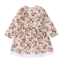 Newborns 2017 Summer Fashion Baby Girls Dress Long Sleeve Floral Printed Lace Party Mini Dresses Beach Dress For Baby Girls j2