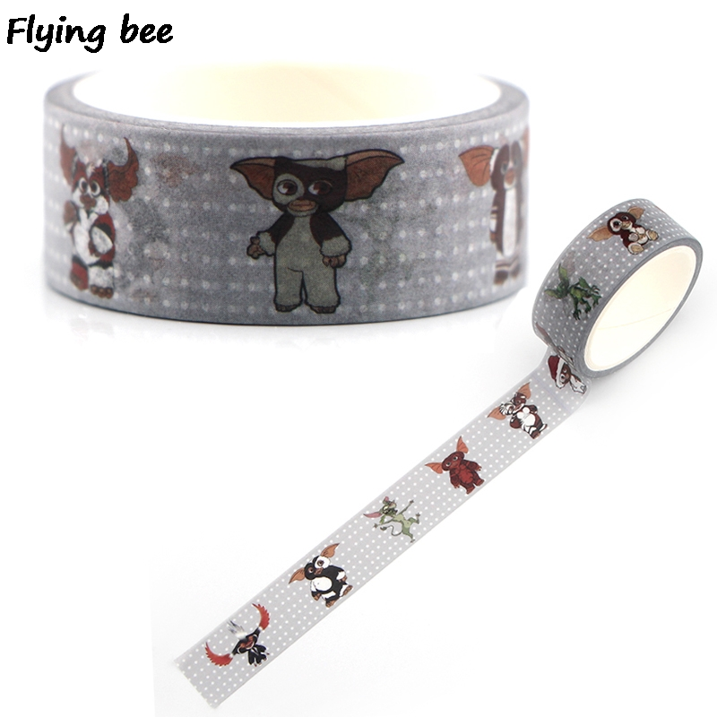 Flyingbee 15mmX5m Paper Washi Tape Gremlins Creative Adhesive DIY Scrapbooking Sticker Label Masking X0345