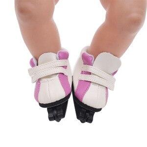 Куклы обувь аксессуары роликовые коньки шкив обуви подходит 43 см кукла младенца и американский 18 дюймов девочка кукла g17