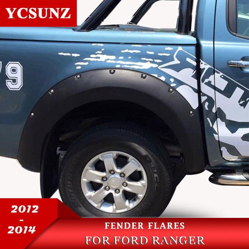 Otomobiller ve Motosikletler'ten Çamurluklar'de Mat siyah renk tekerlek kemerler çamurluk genişletici çamurluklar ile 9 inç fındık Offroad Ford Ranger T6 2012 2013 2014 title=