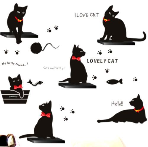 FD2457 Home Decor Craft Sticker Bedroom Toilet Wall DIY Sticker ~6 Black Cats~