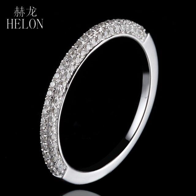 ХЕЛОНА Solid 14 К Белое Золото Половина Вечности Блестящий Проложить Природных Алмазов Свадьба Обручальное Кольцо Женщины Ювелирные Изделия-Летию Группы