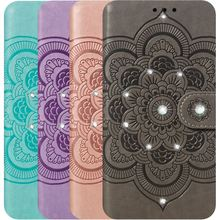 Diamond Mandala Bling Case For Motorola Moto P30 Note One Power Z4 Play E5 Go G7 Plus Luxury Leather Lady Cover Datura D13H