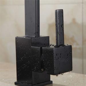 Image 2 - מטבח ברזי פליז מטבח כיור מים ברז 360 לסובב מסתובב ברז מיקסר חור אחד מחזיק אחד שחור מיקסר ברז 7115