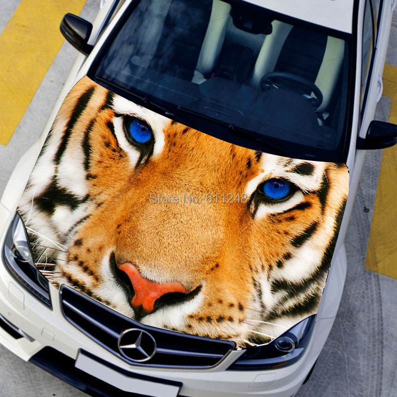 3D Car Decals HD Inkjet Decoration Stickers Hood Bonnet Tiger Car Decals Center Cap Sticker 135*150cm Vinyl Stickers For Cars car styling diy hood sticker cartoon decals camouflage vinyl film exteriors single ralliart stickers on cars protective film