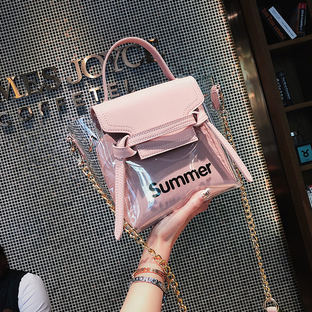 3668380a297e 2018 Summer Fashion New Handbag Women s Designer Handbag Transparent Big  Tote bag Letter Jelly bag Portable Chain Shoulder bags