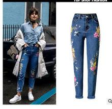 Free Shipping Womens Casual High Waist Flower Embroidery Deans Flower 3D Printing Fashion Straight Denim Pants Trousers BB7
