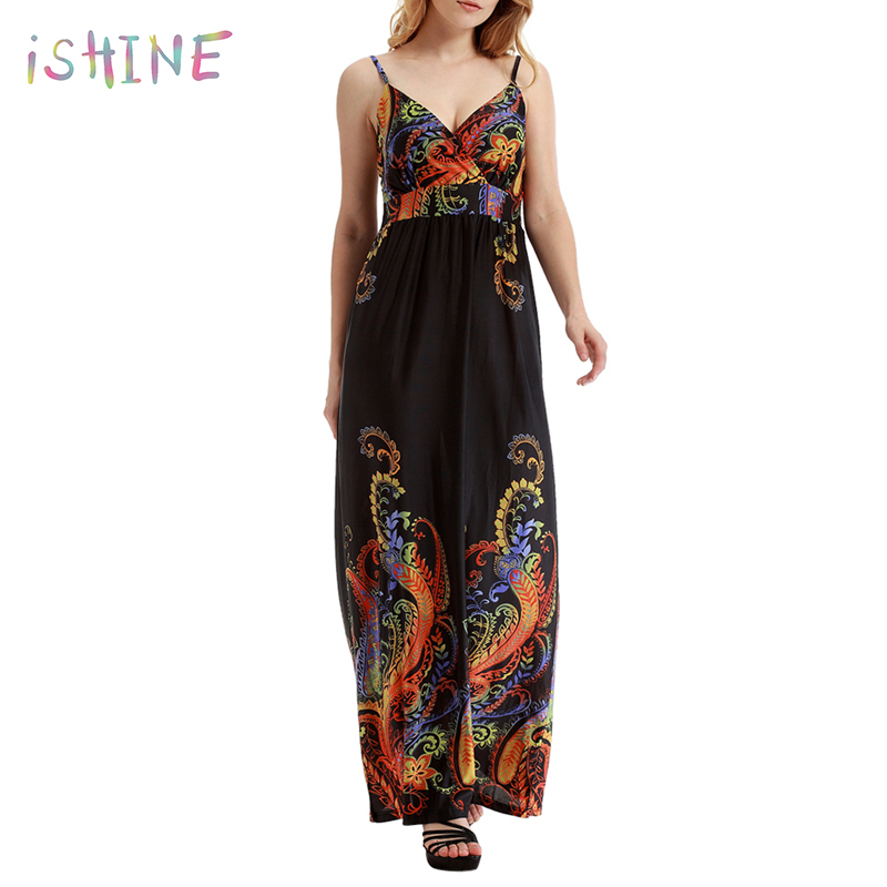 2018 Women Summer Holiday Beach Dress Sexy V-neck Spaghetti Strap Colorful Pattern Printed Long Maxi Dress Plus Size 6XL