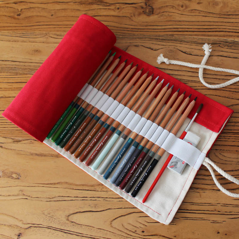 36/48/72 Holes Red Retro School Canvas Roll Up Pencil Case Pen Storage Bag Pouch Vintage Stationery Painting Art Supplies B081 2 layer 36 holes art pen pencil case box students stationary zipper storage comestic make up brush organizer bag school supplies