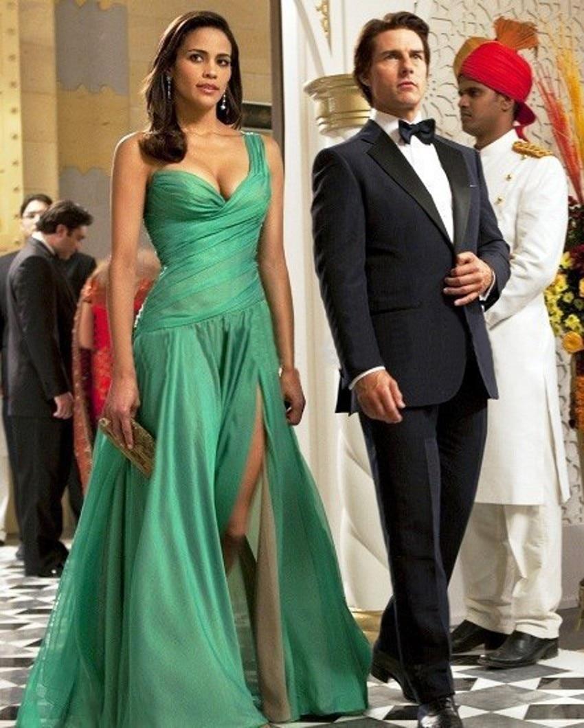 New modern dress styles - Latest Style Modern One Shoulder A Line Pleated Long Green Chiffon Evening Dress 2016 Side Split