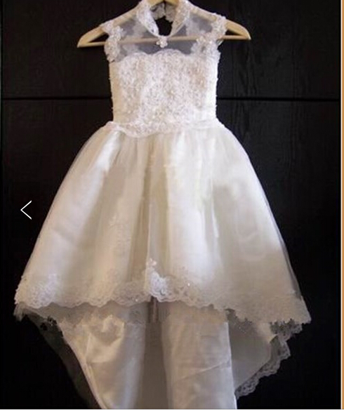 IMT010 E-Marry High Neck Lace   Flower     Girls     Dress   With Train Prom   Dress   Children Lovely Pageant   Dresses   for Little   Girls   White