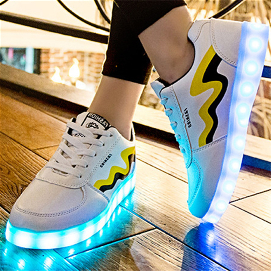 Kids Shoes With Light Chaussure Led Enfant Spring Luminous Shines Sneakers New Fashion Kids Shoes Children Pu Leather 506086 bright leather children led kids light shoes for boys girls new fashion luminous sneakers chaussure enfant lumineuse shoes