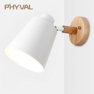 Image 2 - Wall Lamp 10cm Wooden Base 13cm Iron lampshade Nordic Chrome Up and down adjustment steering head E27 lamp holder free shipping