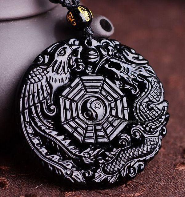 100% Natural Obsidian Hand Carved Dragon Phoenix Lucky Pendant +  Necklace