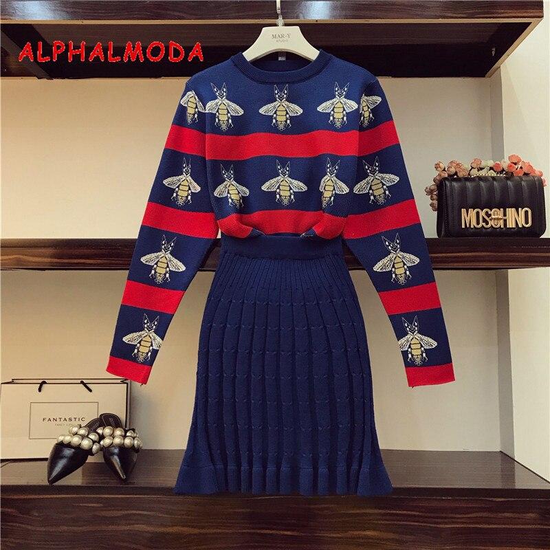 ALPHALMODA 2018 Bees Hit rayado color mujeres punto suéter falda trajes OL Otoño Invierno Vintage moda conjuntos de ropa