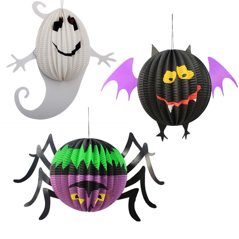 3Pcs/Lot Creative 3 Kind Shape Halloween Pendant Decoration and Props Ghost Spider Bat Paper Lanterns DIY For Home Party Props