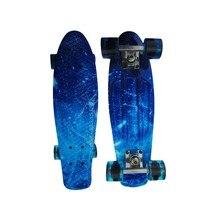2016 جديد 22 بوصة البسيطة كروزر البلاستيك retro skateboard longboard الأزرق السماء الأسماك الصغيرة لوح التزلج للبنين و الفتيات