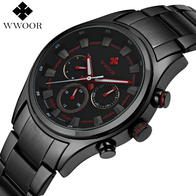 WWOOR Top Luxury Brand Waterproof Date 24 Hours Clock Men Sports Military Watches Steel Strap Fashion Quartz Wristwatch портативная bluetooth колонка jbl go 2 red