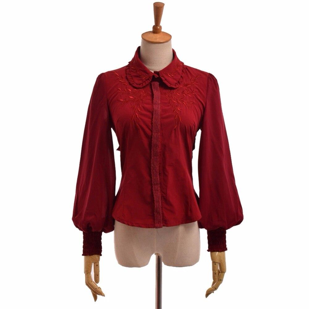 f44c50a26 1 قطعة الفتيات لوليتا بلوزة شيفون النساء الخيال أجنحة المطرزة طويلة الأكمام  عودة-حزام قميص قمم