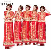 Dragon Gown Bride Wedding Dress Chinese Style Costume Cheongsam Maternity Evening Dress Show Clothing Slim Style