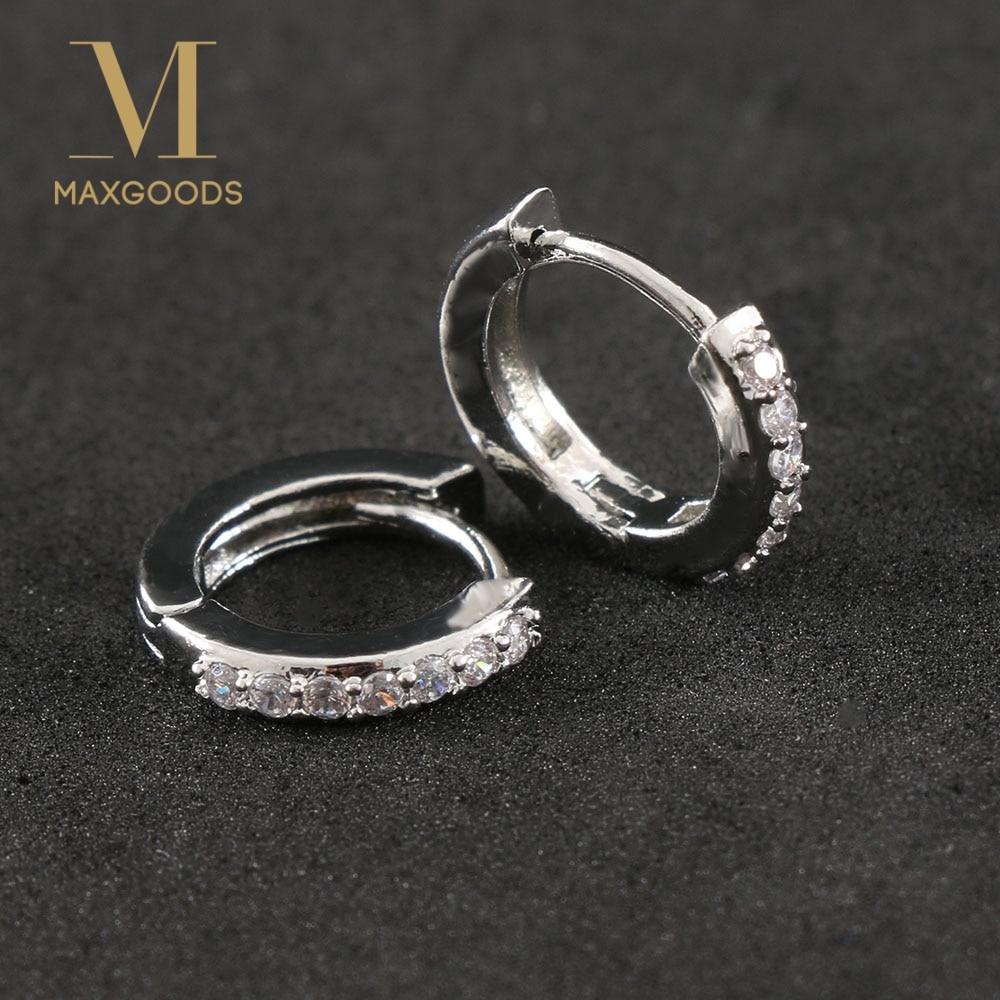 1 Paar Versilberung Überzogene Ohrringe Kleine Runde Strass Hoop Ohrringe Frauen Hot Fashion Schmuck Geschenke