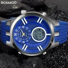 men sport watches fashion quartz watch dual display analog digital watch BOAMIGO brand men rubber LED waterproof wristwatches