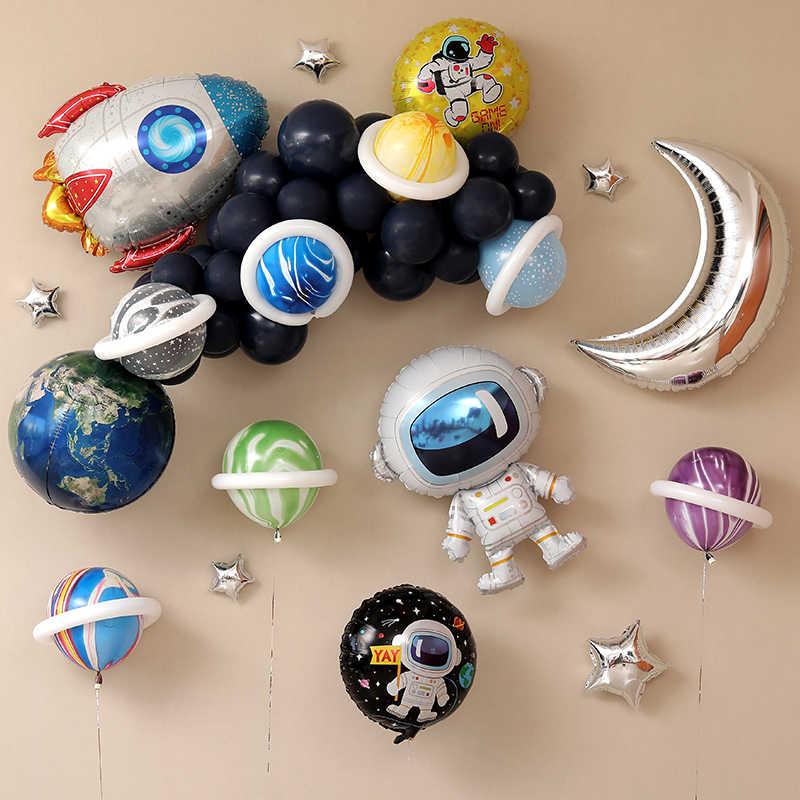 Globo de papel de la serie espacio Feliz cumpleaños fiesta decoración tierra planeta explorar Protección Medio ambiente tema luna
