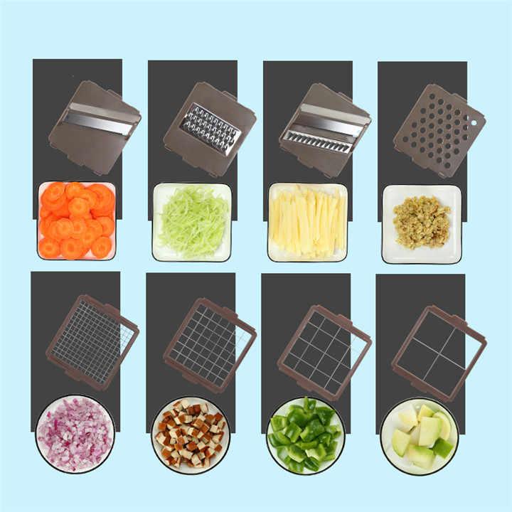 VOGVIGO wielofunkcyjny 8 In1 jedzenie warzyw sałatka owoce obierak krajalnica Dicer cebula urządzenie do siekania żywności z pojemnik na narzędzia kuchenne