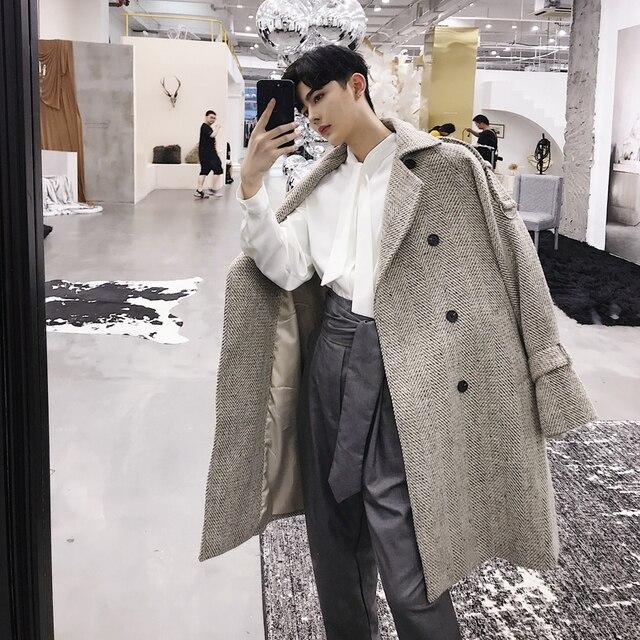 2018 Мужская Мода восстановить шерстяное пальто Свободные Тренч повседневные пальто кашемировые длинные с хлопковой подкладкой одежда Размеры M-2XL