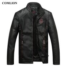 COMLION giacche in ecopelle da uomo, di alta qualità, classiche, moto, Cowboy, giacca, cappotto, più velluto, spessi, cappotti, C46