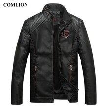 Comlion jaqueta de couro falso masculina, de alta qualidade, clássica, para moto, jaqueta de cowboy, casaco grosso M 5XL c46