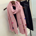 Luxury Brand Winter Long Handmade Fur Ball Scarf Color Jelly Beans Cute Spanish Imitation Cashmere Scarf Female Warm Collar