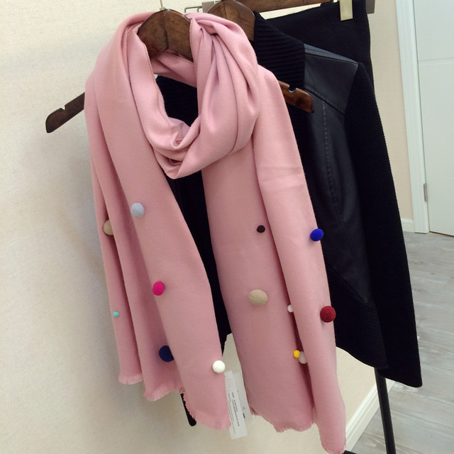 Luxury Brand Winter Long Handmade Fur Ball Scarf Color Jelly Beans Cute Spanish Imitation Cashmere Scarf Female Warm Collar