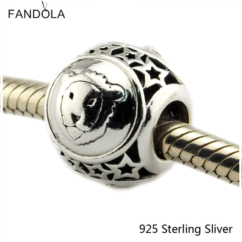 Leo Star Sign 925 Sterling Silver Charm Beads Fits For Pandora Bracelet Charms for DIY Fine Jewelry