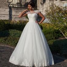 Vestidos de novia vestido de baile branco querida apliques boné manga vestidos de noiva 2019 baratos personalizado rendas vestidos de casamento sem costas