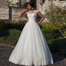 vestidos de novia Ball Gown White Sweetheart Appliques Cap Sleeve Bride Dresses 2019 Cheap Custom Lace Backless Wedding Dresses