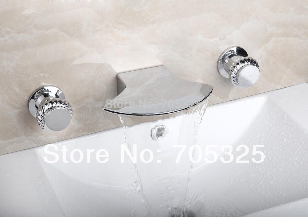 Wide Spout Ceramic  Deck Mounted 3PCS  Bathtub Double Handles  Chrome Polish Bathroom Basin & Sink Mixer Tap Faucet L-1267