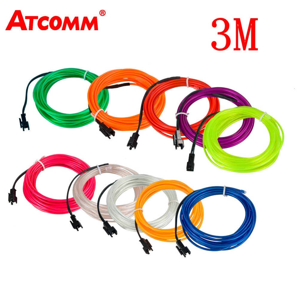 ATcomm 3 Meters Car Interior Lighting Auto LED Strip Garland EL Wire Rope Tube Line Flexible Neon Light Auto Decorative Lights new 1 set colorful rgb led car interior neon el wire strip light auto dashboard decorative lamp sound active app control