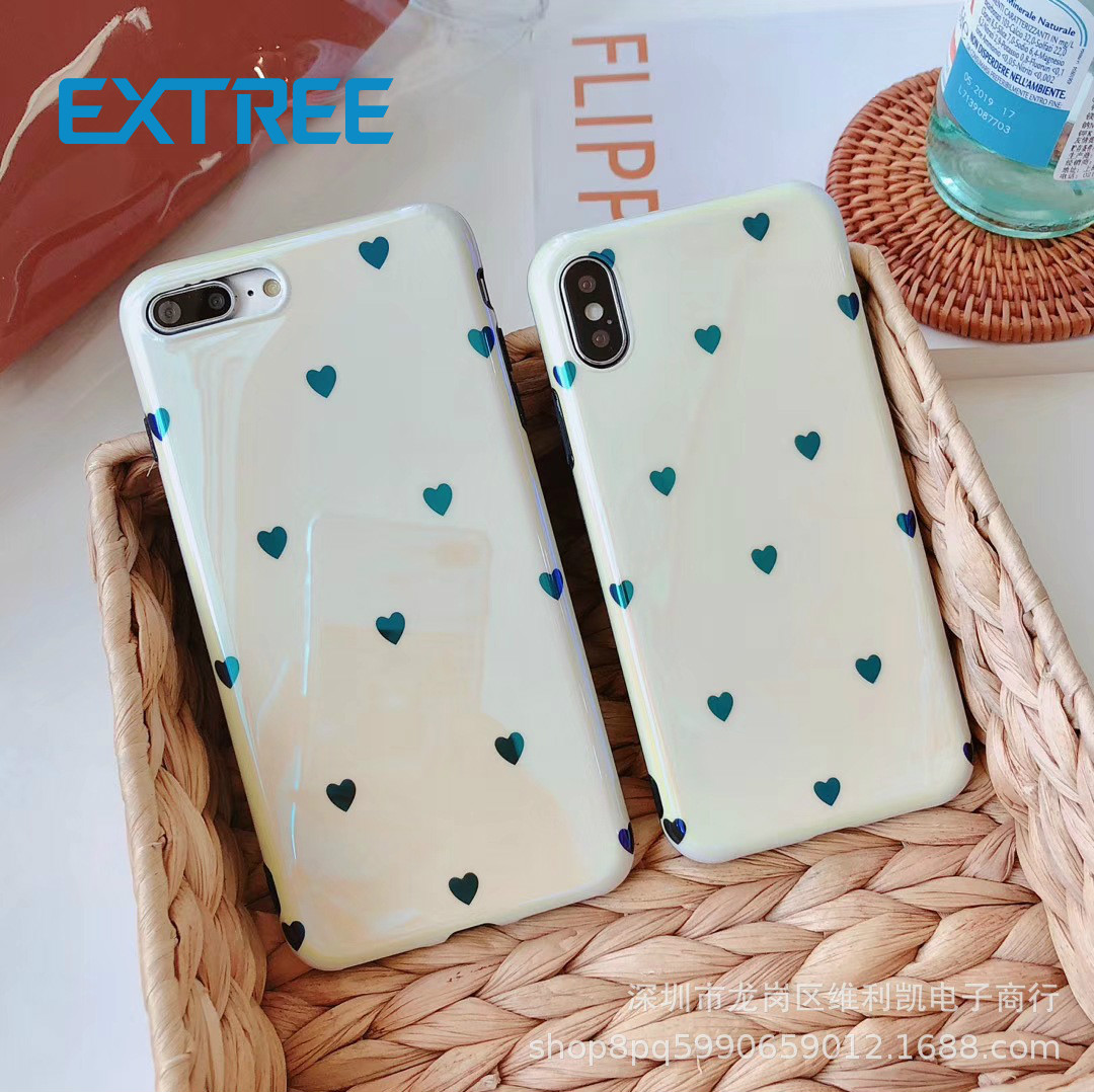 EXTREE case for iPhone ins Laser Blu-ray Little Love iPhone 6s Mobile case Soft iPhone7plus Silicone All-inclusive 8/X