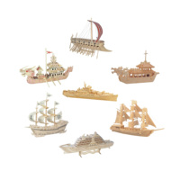 Chanycore Baby Learning Educational Wooden Toys 3D Puzzle Phenicia Warships Dragon Boat Cruise Ship Sailboat Kids