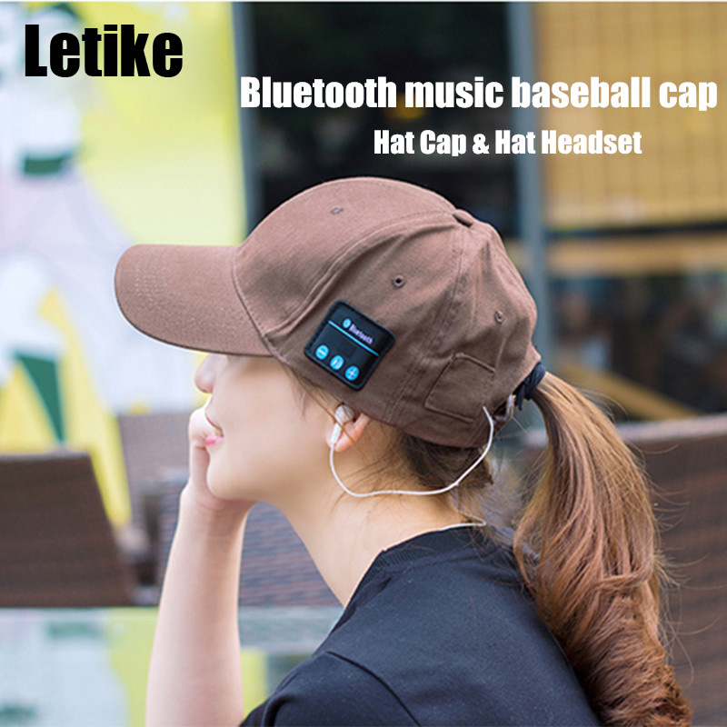Letike Bluetooth Hat Cap Headset Headphones Speaker with Mic Hand-free Music Mp3 Sport Smart Cap Baseball Cap Headset Sports Hat chemo skullies satin cap bandana wrap cancer hat cap chemo slip on bonnet with ribbon 8 colors 10pcs lot free ship