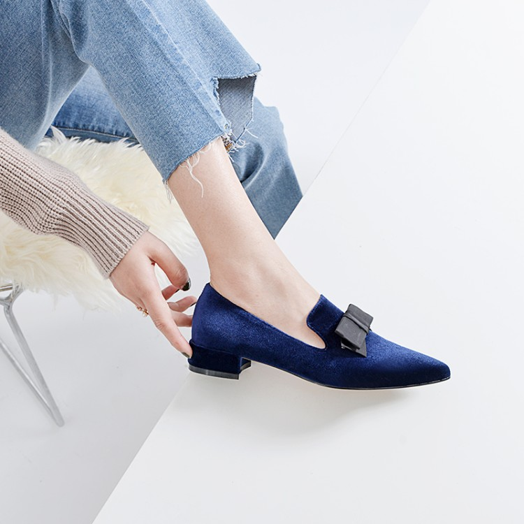 MLJUESE 2019 women flats sheepskin blue color bow tied soft ballet flats shoes spring autumn comfortable