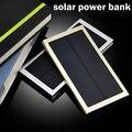 Caixa De Metal Ultra-fino Banco De Energia Solar 12000 mah Dual USB Powerbank Li-Bateria de polímero de Carregador Solar Portátil