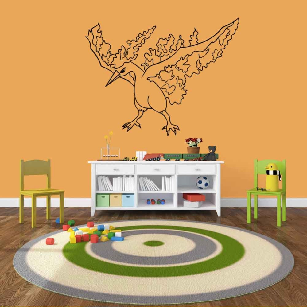 57 43cm Pvc Pokemon Bird Wall Sticker 0209 Bedroom Decor Removable Waterproof Diy Child S Craft