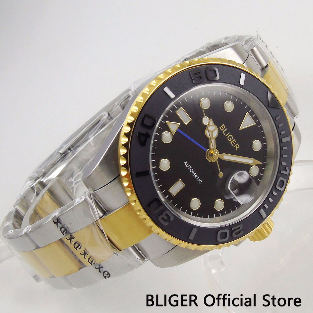 Sapphire Crystal BLIGER Automatic Mens Watch 40MM Black Dial Gold Plated GMT Function Mental StrapSapphire Crystal BLIGER Automatic Mens Watch 40MM Black Dial Gold Plated GMT Function Mental Strap